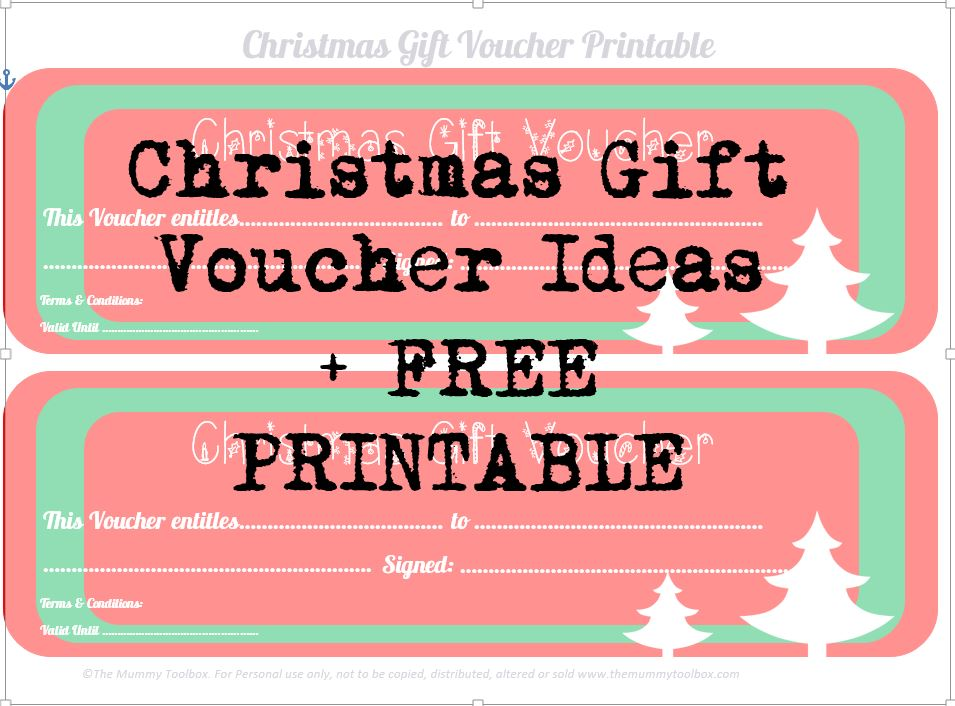 Free Printable Christmas Gift Vouchers - The Mummy Toolbox